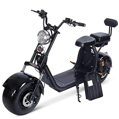 SJAPEX Harley Two Elektroroller Scooter Chopper E-Scooter, 1500 Watt E-Motor, Lithium Batterie 60V 12A, E-Roller Elektroroller E-Tretroller Elektro-Roller mit 2-Sitzer, Schwarz