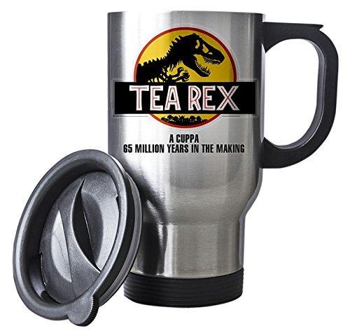 Tea Rex Silver Travel Mug - Jurassic Dinosaur Movie Xmas Gift idea (Kitchen & Home)