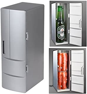 Mini PC USB Cooler & Warmer, HQF Portable USB Beer Beverage Drink Cans Fridge Cans Cooler Warmer for Cold / Hot Beverage Drinks (Silver, Bigger Size)