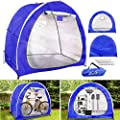 Outdoor Bike Cover Storage Shed Tent, 210d Silver Coated Oxford Cloth Portable Waterproof Tidy Foldable Bicycle Shelter, Space Saving for Camping Garden Tool Motorcycle Large Covers (Green)