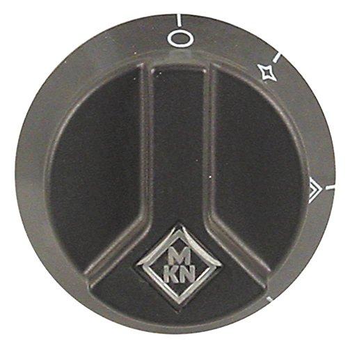 MKN Knebel für Grillplatte 2063501-00, 20611011-0 für Gashahn ø 65mm Symbol mit Zündflamme für Achse ø 6x4,6mm schwarz
