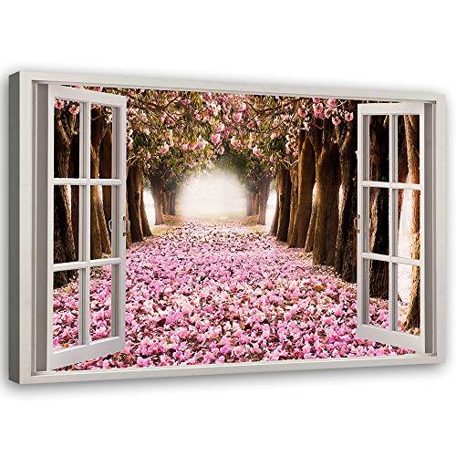 Cuadro de Pared XXL árboles Impresión Lienzo 3d ventana Morado 120x80 cm