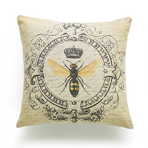 """Hofdeco Decorative Throw Pillow Cover HEAVY WEIGHT Cotton Linen French Country Modern Queen Bee 18""""x18"""" 45cm x 45cm"""