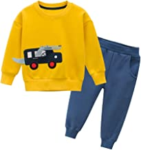 Mayunn 2-Pieces Toddler Baby Boys Cartoon Pullover Sweatshirt Shirt Tops Pants Clothes Outfits Sets (1Year-7Years)