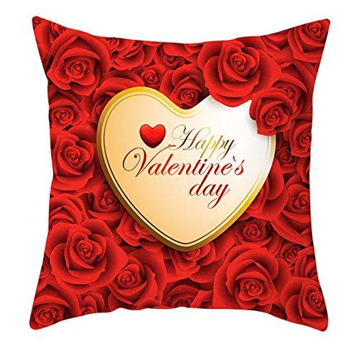 KnBoB Funda Almohada Happy Valentine's Day Flor Corazón Rojo Oro Poliéster 50 x 50 cm Estilo 31