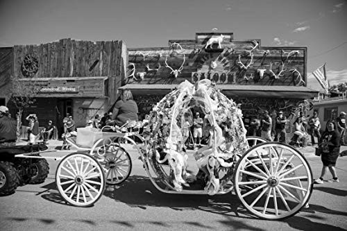 18 x 24 Black & White Canvas Wrap of A Float Passes The White Wolf Saloon in Douglas Wyoming During The Wyoming State Fair's Annual Kickoff Parade y55 2015 Highsmith