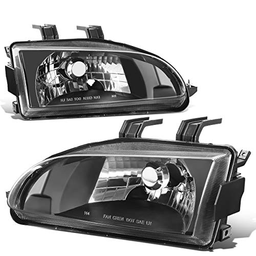 Pair OE Style Black Housing Clear Lens Headlight Lamps Replacement for Honda Civic EJ/EG/EH 92-95