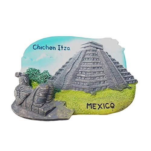 Imán para nevera 3D de Chichen Itzá México, decoración para el hogar y la cocina, polirresina, imán para nevera de México