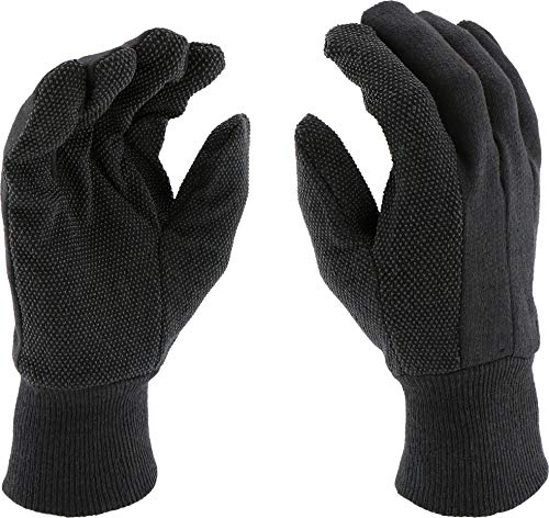 West Chester KBJ9PDI Brown Jersey Dotted Gloves (Pack of 12) - Poly/Cotton with Dotted Palm and Index Finger, Straight Thumb, Slip on Cuff, Knit Wrist