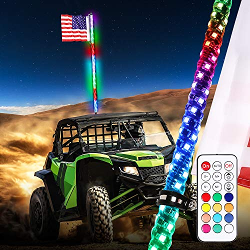 Led Whips Light for RZR ATV Flag Poles UTV Antenna Quad Whips w//Quick Disconnect Fit Motorcycle 4wd Offroad Truck Boat RED