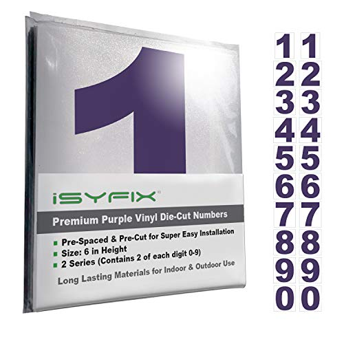 Purple Vinyl Numbers Stickers - 6 Inch Self Adhesive - 2 Sets - Premium Decal Die Cut and Pre-Spaced for Mailbox, Signs, Window, Door, Cars, Trucks, Home, Business, Address Number, Indoor or Outdoor