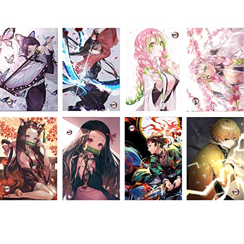 Demon Slayer Posters Japanese Anime Poster Art Prints for Home Wall Decor, 11.5in x16.5in,Set of 8 PCS (Demon Slayer)
