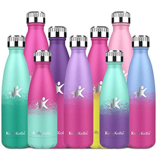 KollyKolla Botella de Agua Acero Inoxidable, Termo Sin BPA Ecológica, Botella Termica Reutilizable Frascos Térmicos para Niños & Adultos, Deporte, Oficina, Yoga, (750ml Violeta Claro + Barbie Rosa