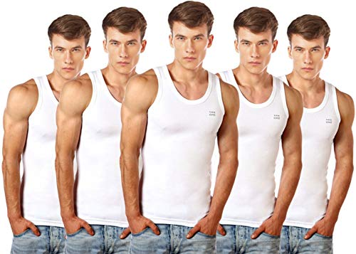 Lux Cozi Men's 100% Cotton White Vests (Pack of 5) (Large)