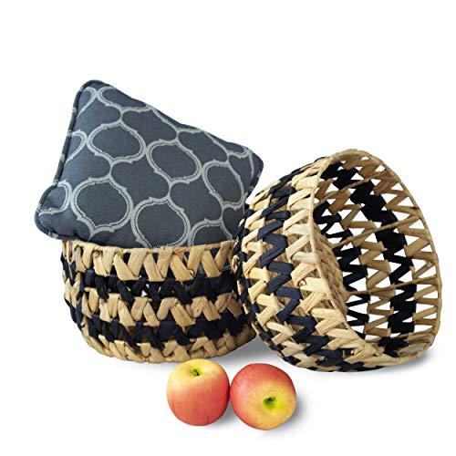 Made Terra - Juego de 2 cestas redondas de mimbre para almacenamiento (2 canastas decorativas de mimbre), diseño de cesta para sala de estar, vestir, guardería, juguete para niños (rayas negras)