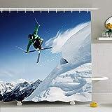 Conjunto de cortina de ducha con ganchos Impetuous Tree Sky Jumping Resort Blue Sport One Skier Extreme Air Nature Sports Recreation Travel Impermeable Tejido de poliéster Decoración de baño para baño