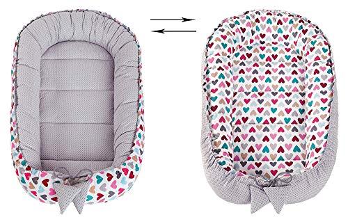 Babynest Kuschelnest Babynestchen 100% Baumwolle Nestchen Reisebett für Babys Säuglinge Medi Partners 90x50x13cm herausnehmbarer Einsatz (bunte Herzen mit grauen Minky) - 3