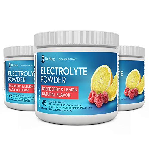 Dr. Bergs Original Electrolyte Powder - Hydration Drink Mix Supplement - Boosts Energy & Keto-Friendly - NO Maltodextrin & Sugar-Free - No Ingredients from China - Raspberry Lemon Flavor 3 Pack