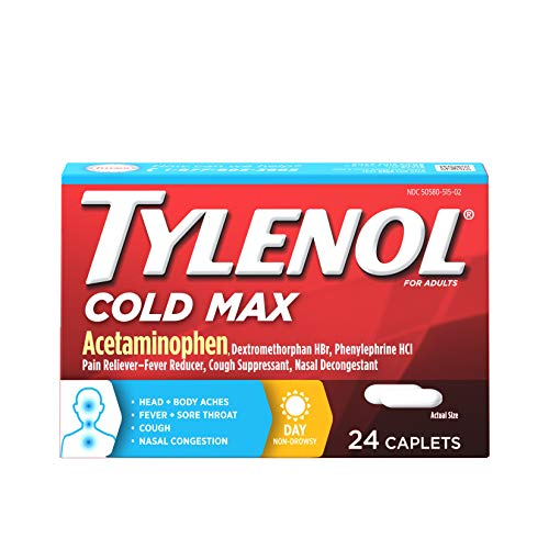 Tylenol Cold Max Daytime Non-Drowsy Cold and Flu Relief, Acetaminophen, 24 ct