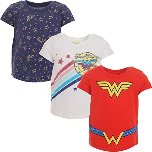 DC Comics Wonder Woman Big Girls Justice League 3 Pack T-Shirts Short Sleeve 7-8 Red/White/Navy