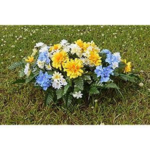 Designs by Ellis Deluxe Spring Yellow Mums & Blue Hydrangeas Cemetery Saddle Arrangement