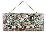 Cartel de madera con texto en inglés «Where Dreams Come True», «The Fairy Garden Sign Where Dreams Come True»