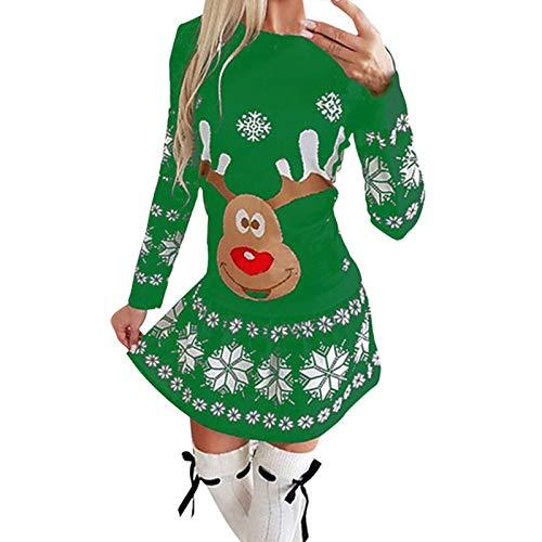 SOMESUN Damen Einfaches Kleider Weihnachtsdruck Basic Casual A-Linie Skaterkleid...