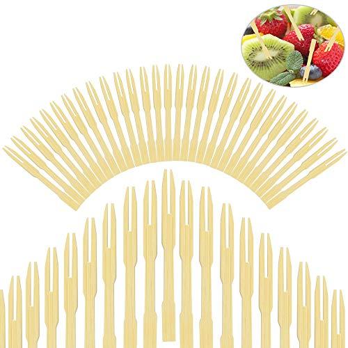 EMAGEREN 400 pcs Tenedores Desechables Tenedores de Bambú Tnedor de Fruta de Madera Cubiertos de Bambu Pequeños Tenedores...