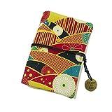 Organizzatore tascabile con porta carte di credito con chiusura a corda e porta carte di credito dipinte con motivo giapponese colorato