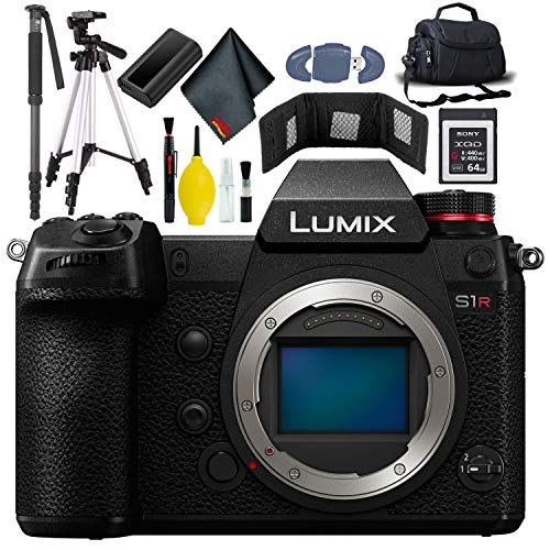 Panasonic Lumix DC-S1R Mirrorless Digital Camera KitBox-NoLens - Included Battery - Charger - 64GB XQD G Series Card - Card Wallet - Reader - Case XL - Tripod - Monopod - Additional Battery + More -  DC-S1RBODY-6a-1