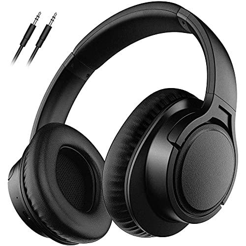 Cuffie Wireless 5.0, Cuffie Senza Fili Over Ear con Microfono, Auricolare Stereo Hi-fi, Modalità Cablata Wireless, 25 ore di Riproduzione per Bambini, Adulti, TV, PC, Lezioni Online, Ufficio a Casa