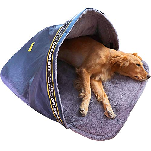 Travel Portable Calming Cave Dog Bed Pod Deluxe Foldable Mat Mattress Cushion Sleep Bag Warm Plush Cuddler Extra Large Medium Small Dog Bedding Orthopedic Anxiety ZZAY (Size : L:90x70cm/35.4x27.5in)