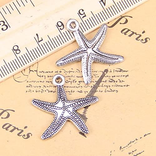 WANM Encanto 10 Uds Encantos De Estrella De Mar Marina 25X26Mm Colgante Antiguo Vintage Joyería De Plata Tibetana DIY para Collar De Pulsera