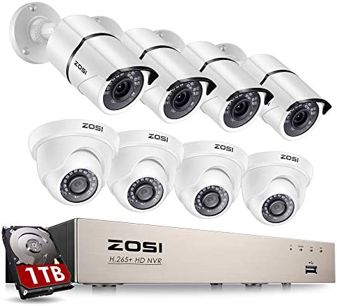 ZOSI 8CH 1080P PoE Home Security Camera System with Hard Drive 1TB H 265 8Channel 5MP NVR Recorder product image