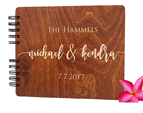 Wooden Wedding Guest Books Personalized (11'x8.5', Oak Wood Stain) Rustic Charm Custom Wedding Instant Photo Album 5th Anniversary Party Guest Register Guestbook Made in USA