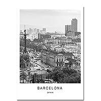 BGGGTD ポスター ブラックホワイトキャンバス絵画世界都市景観パリロンドンニューヨークポスタープリント北欧スタイルの壁アート写真家の装飾-50x70cmx1フレームなし