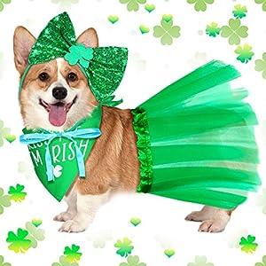 Weewooday St Patrick's Day Dog Costume Set 3 Pieces Kiss Me I'm Irish Shamrock Dog Bandana Set Include Dog Scarf Green Dog Tutu and Dog Bowtie Headband