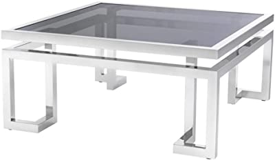 Amazon Com Cairns Square Mirrored Coffee Table Silver Kitchen