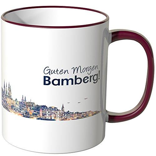 WANDKINGS® Tasse, Schriftzug Guten Morgen Bamberg! mit Skyline bei Nacht - Bordeaux
