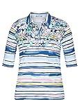 Rabe Camiseta para mujer con elementos florales y rayas. Azul ahumado. 52