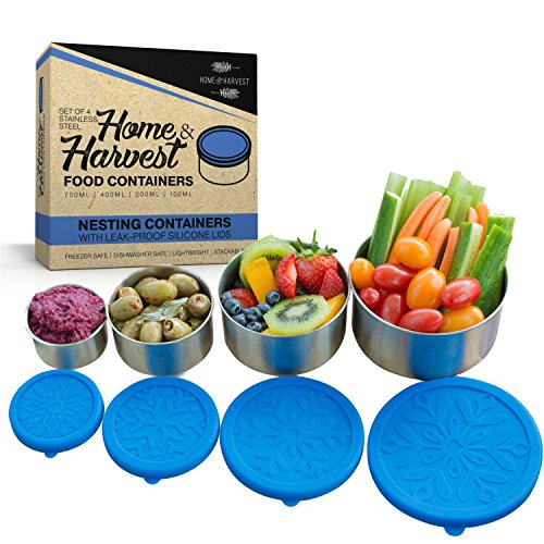 Home and Harvest Stainless Steel Food Containers for Kids Adults Set of 4 Reusable Silicone Lids Storage Containers Great for Lunch Box Meal Prep Snacks Bento Boxes at Home or Traveling