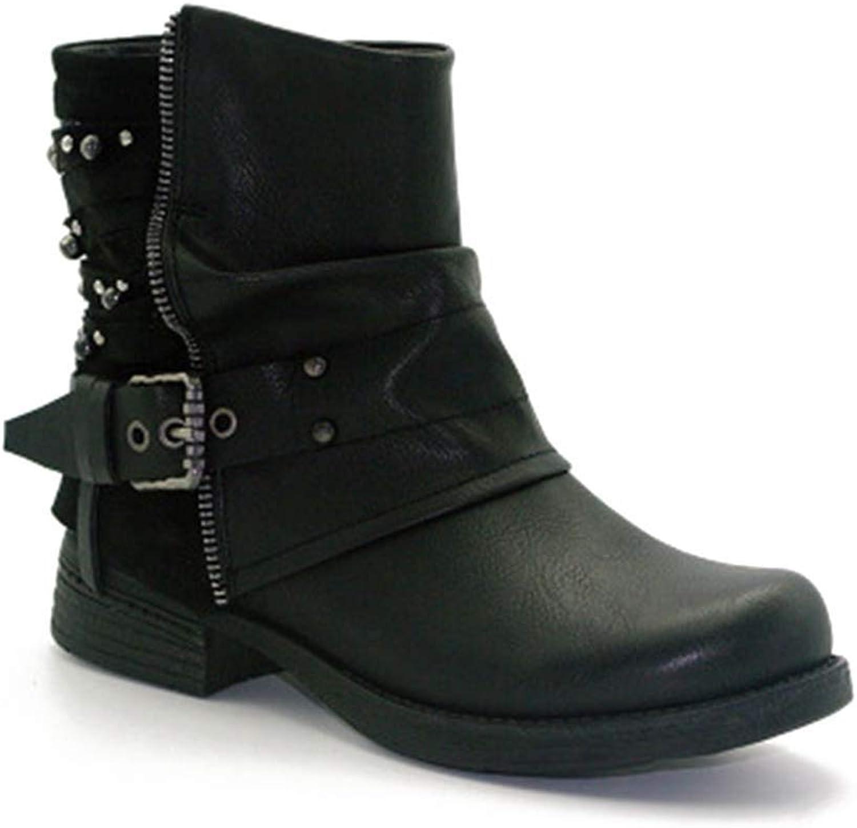 Fashion shoesbox Women PU Leather Zipper Ankle Boots Waterproof Buckle Strap Plush Mid Heel Casual Short Western Boots