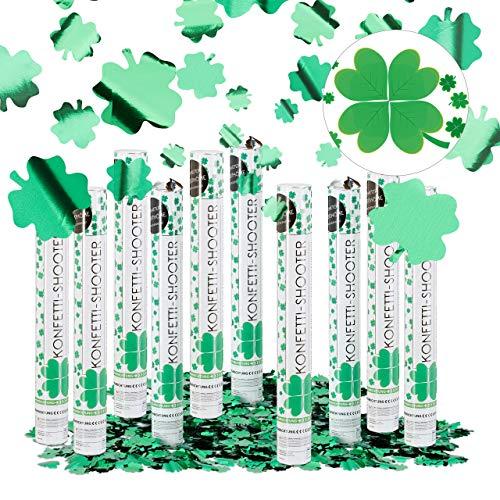 Relaxdays 10er Set Party Popper mit 4-blättrigem Kleeblatt, 40 cm Konfetti Kanone, Silvester Glücksregen, Fasching, Metallic grün