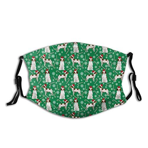 Bretagne Spaniel Weihnachten Weihnachtsmann Pfoten Zuckerstange Tuch Gesichtsbedeckung Sport Maske waschbar & wiederverwendbar Mundschal Erwachsene mit Filter für Staub Wind