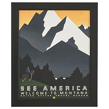 Rivet Vintage U.S. Parks Montana Poster, Black Barnwood Frame, 19  x 23