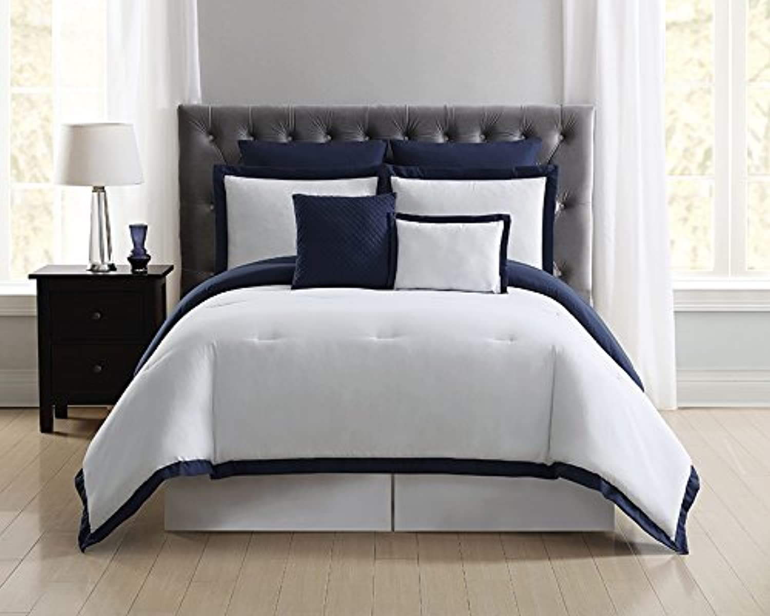 Truly Soft Everyday Hotel Border Comforter Sets 7 Piece, King, White Navy