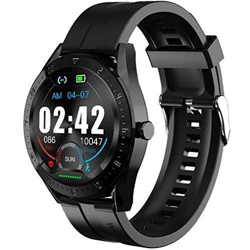 sqmanqi Smartwatch Hombre, Pulsera de Actividad de Llamada de Bluetooth de Reloj Inteligente con Pantalla Táctil Podómetro Monitor de Sueño de Calorías Cronómetro Control de Música (Negro)