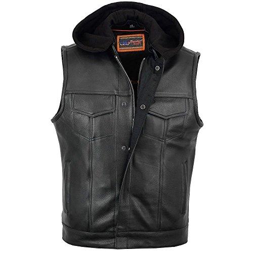 Daniel Smart Men's Motorcycle Son of Anarchy Style Leather Vest W/Gun Pockets, Removable Hood (XL Regular)