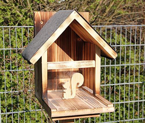 Eichhörnchenfutterhaus-(Ei-Futterhaus-2) Eichhörnchen-Haus-XXXL-Eichhörnchenhaus-Futterautomat-Futterhaus-Nistkasten-Kobel-Holzschindeldach-Vogelhaus