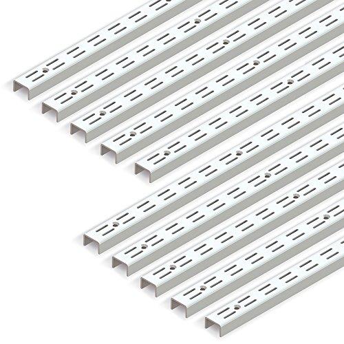 Emuca 7907912 Leistenprofil, doppelte Bohrung, Durchlass 32 mm für Regalwinkel, weiß, L 951 mm, Set aus 10 Stück